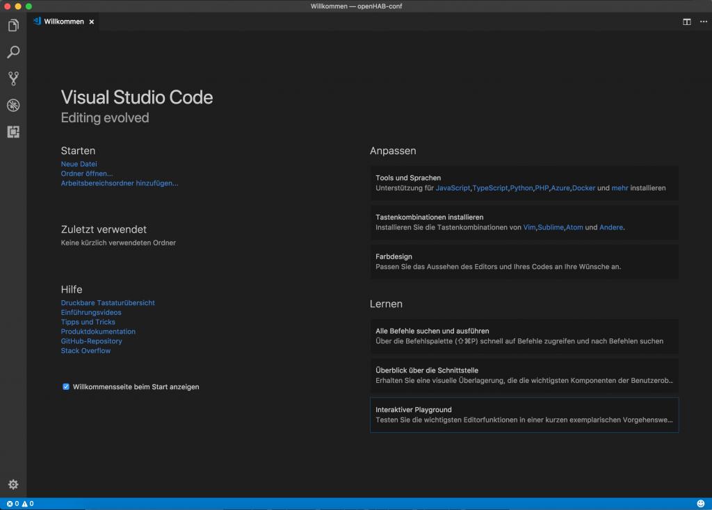 Willkommen Anzeige Visual Studio Code