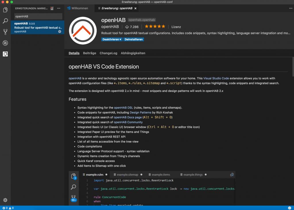 Visual Studio Code - Erweiterung installieren