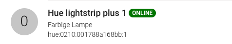 Lightstrip Thing online in openHAB