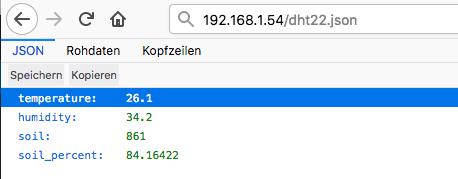 JSON Ausgabe NodeMCU (ESP8266)Firefox Darstellung