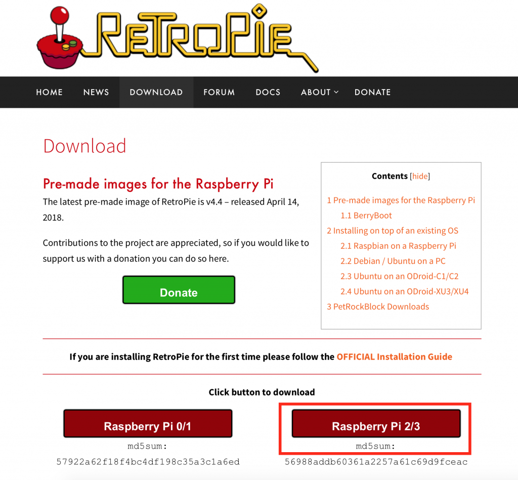 RetroPie Image herunterladen