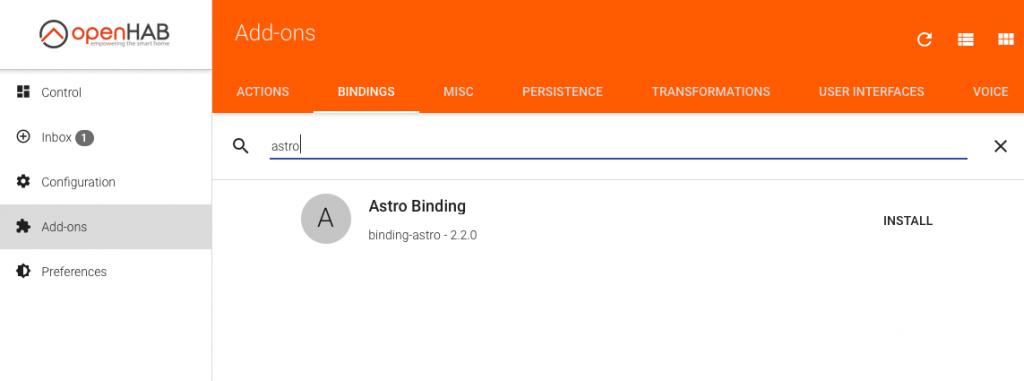 Astro Binding installieren openHAB
