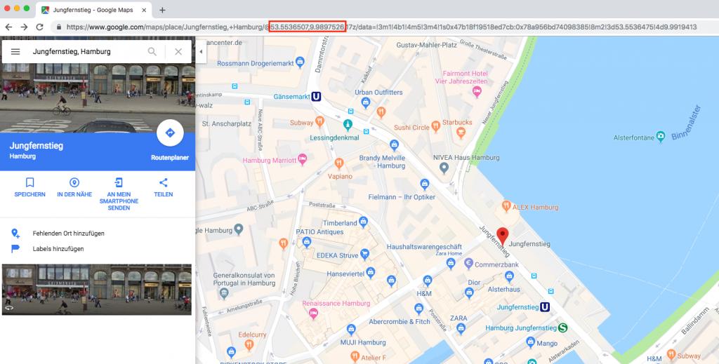 Koordinaten mit Google Maps herausfinden