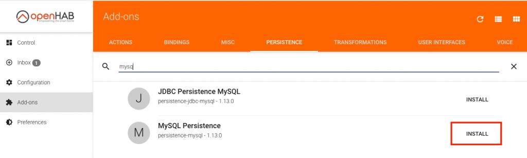 mySQL Datenbank Service openHAB installieren