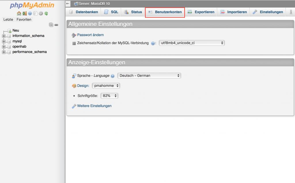 MariaDB Benutzer anlegen Synology
