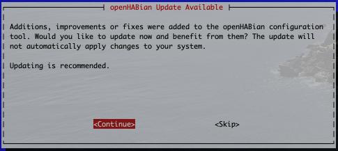 Update openHABian verfügbar